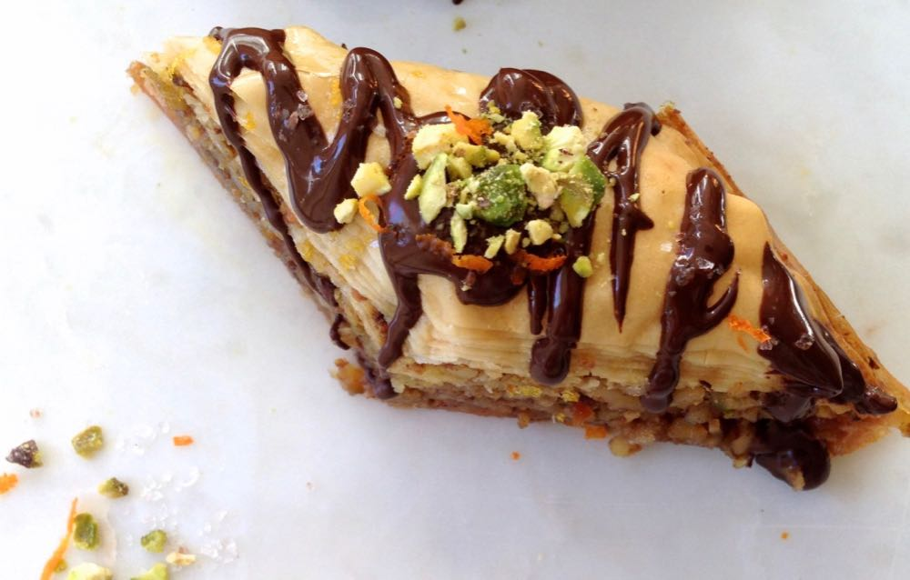 Baklava Slice drizzled with chocolate