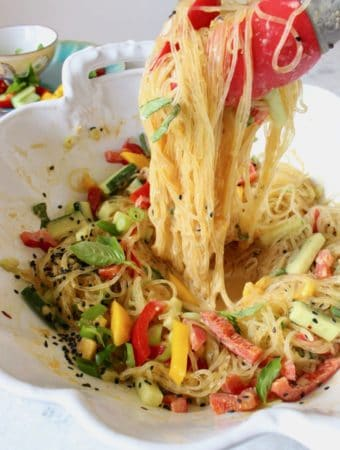 Kelp noodle salad with spicy peanut sauce, mango and veggies.