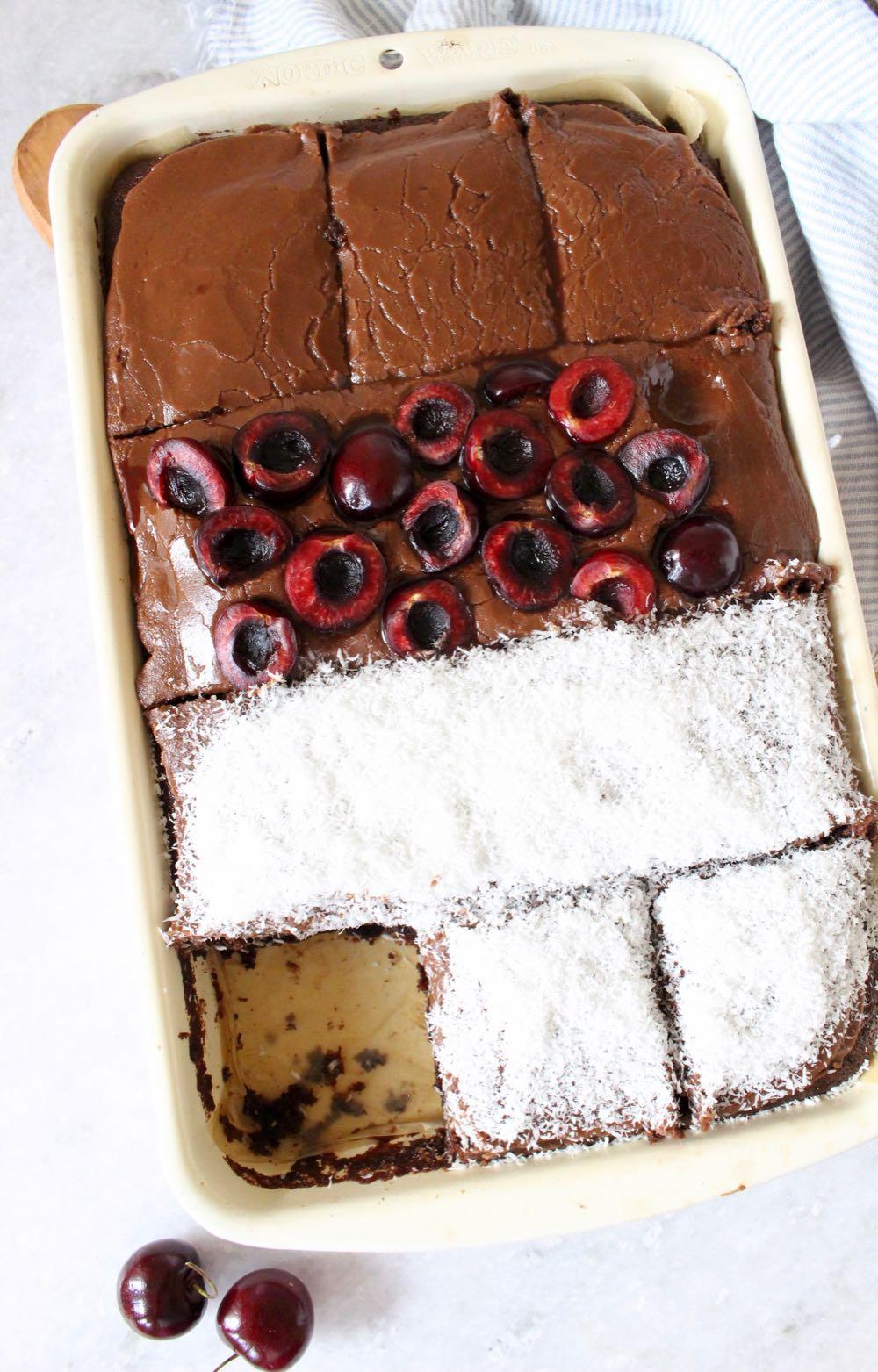vegan chocolate sheet cake in 13x9x2 pan