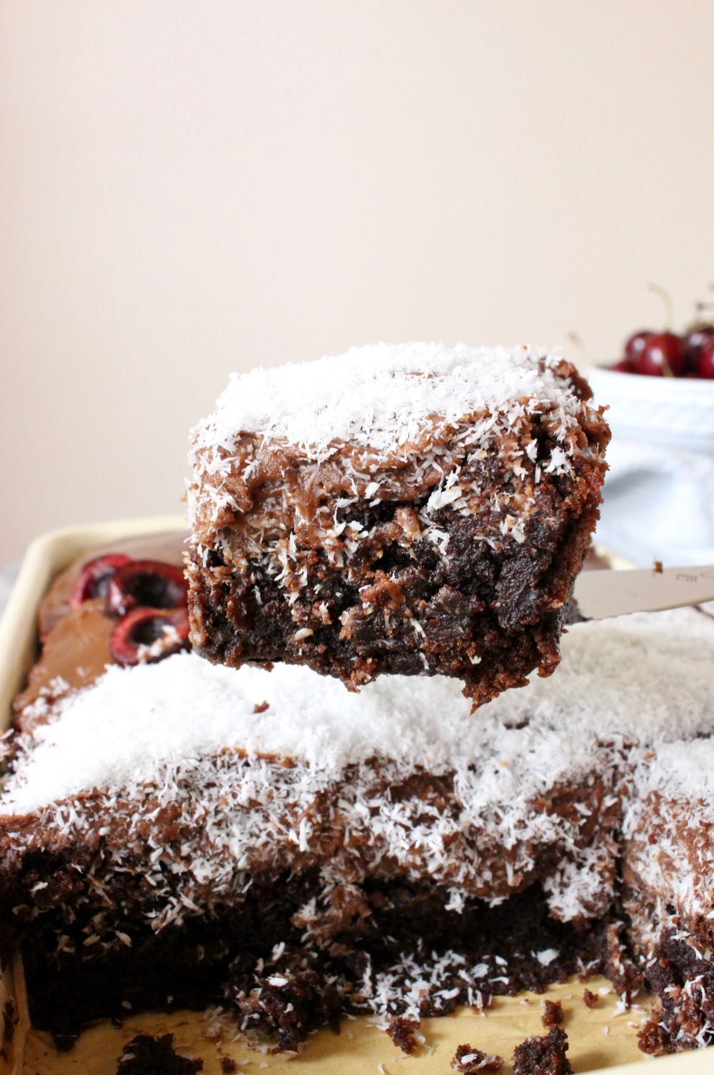Vegan chocolate sheet cake with coconut