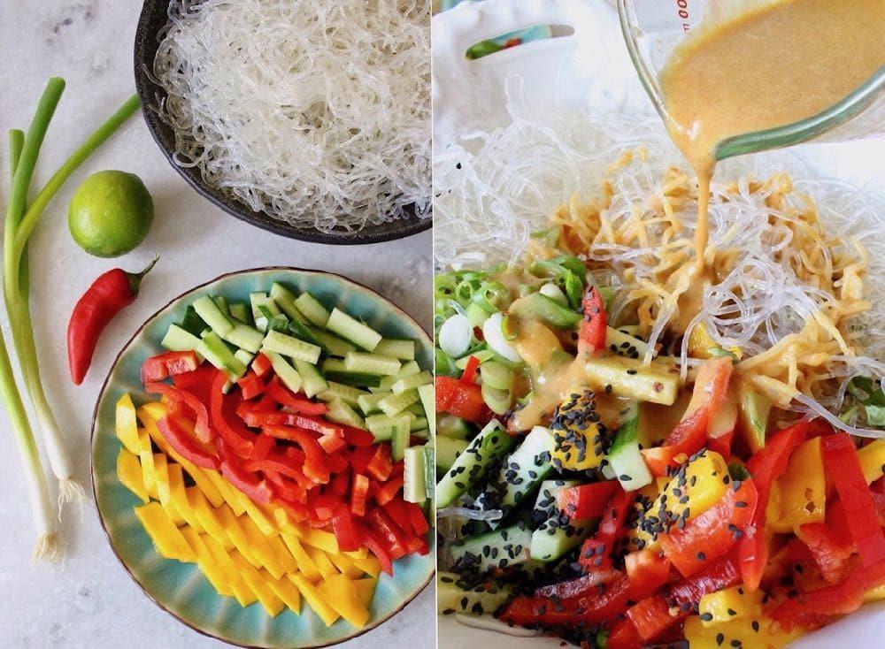 ingredients for kelp noodle salad