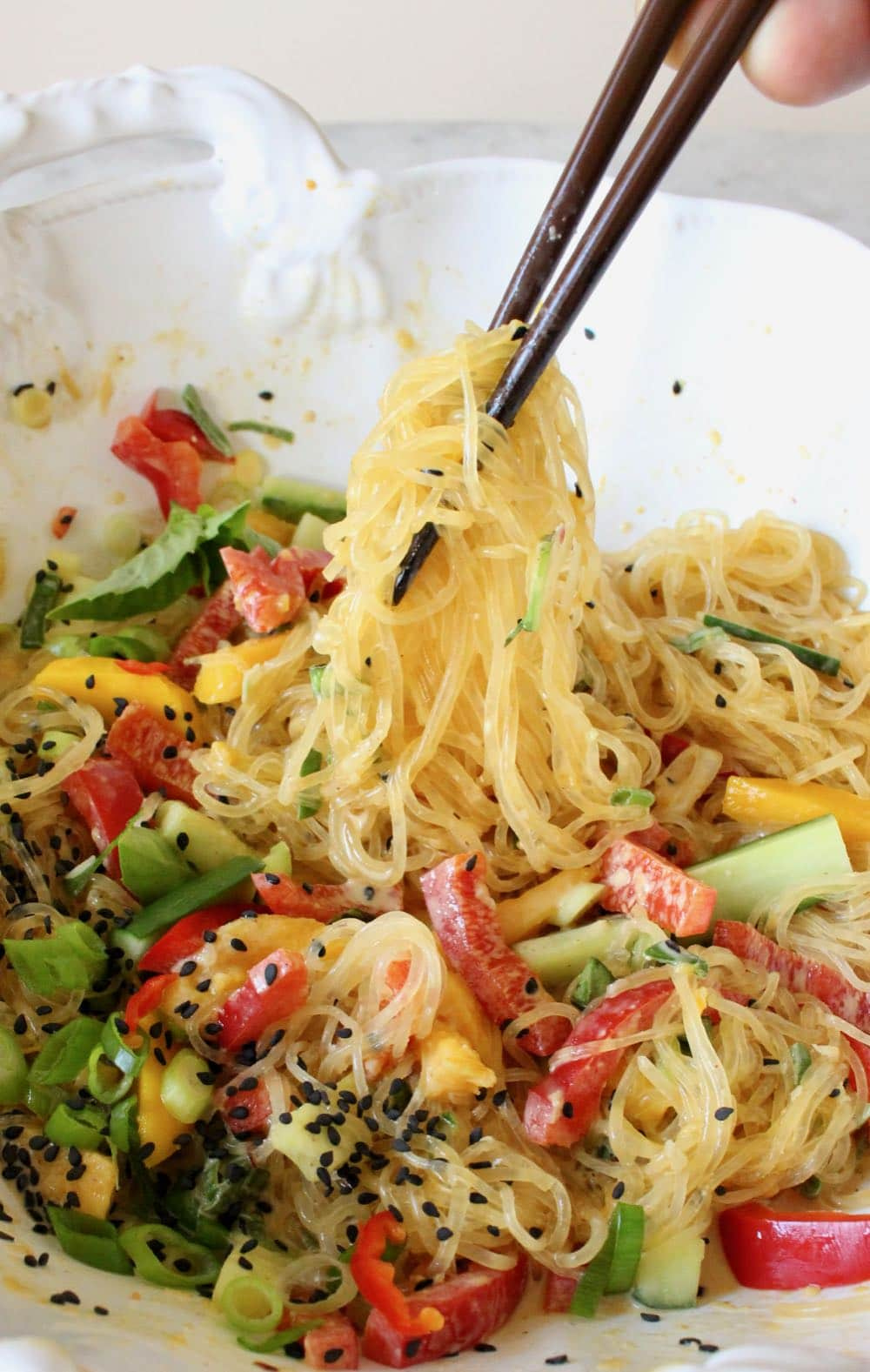 Kelp noodle salad with spicy peanut sauce, mango and veggies.
