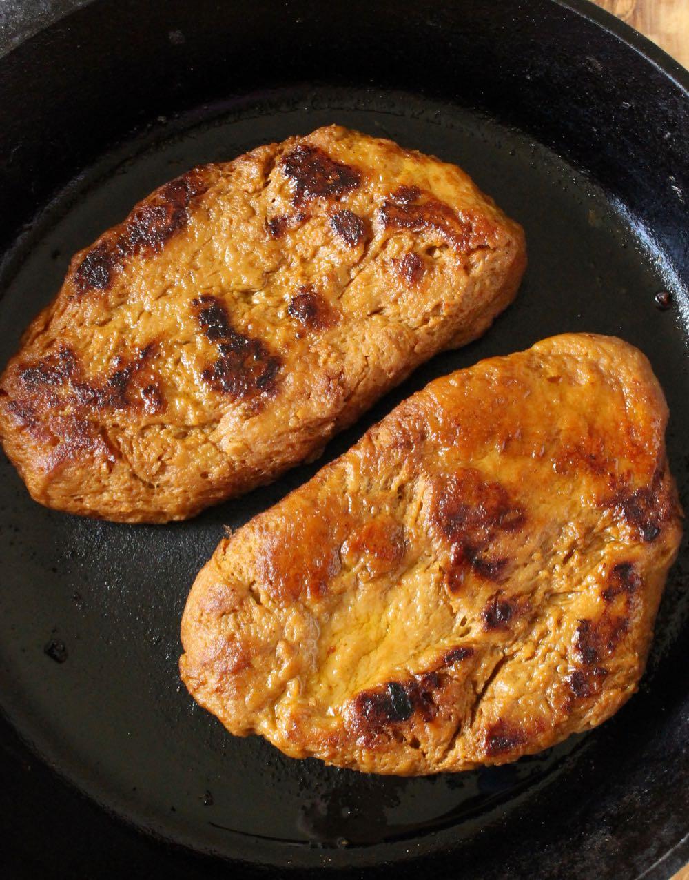 Pan seared vegan steak recipe in cast iron