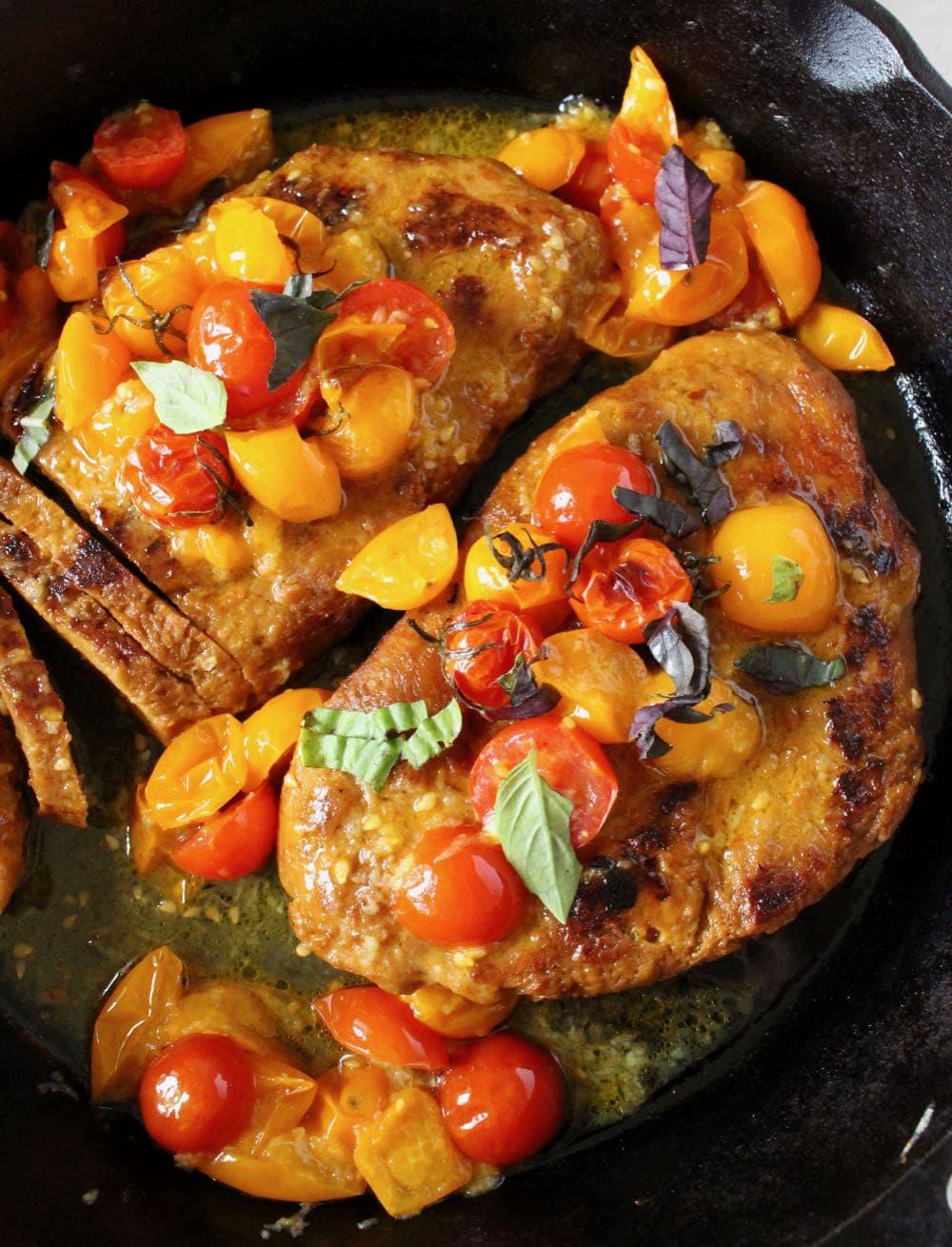 best Italian vegan steak recipe with cherry tomato sauce