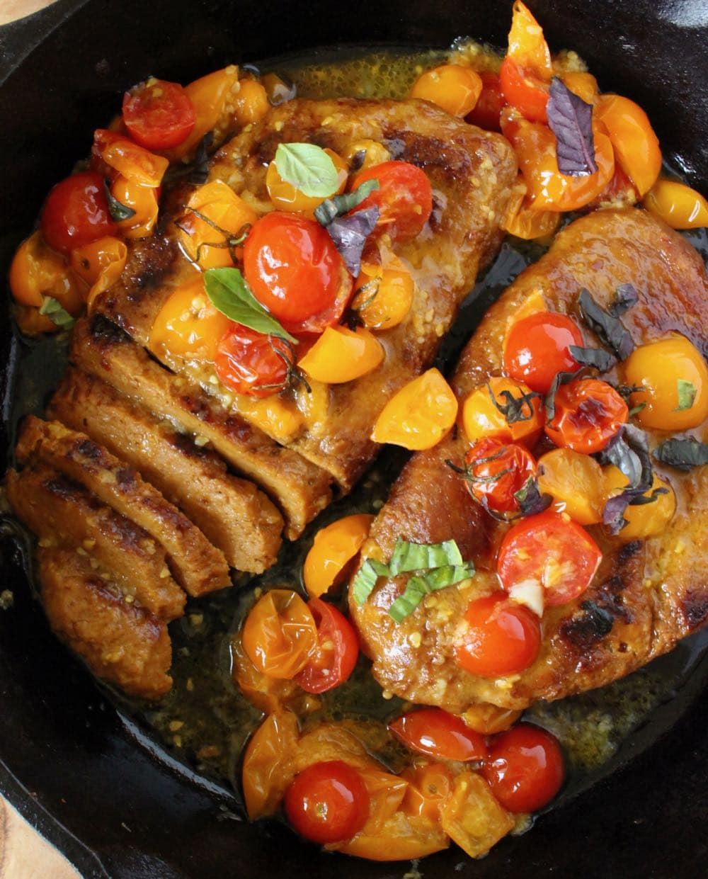 Vegan steak recipe with cherry tomato sauce
