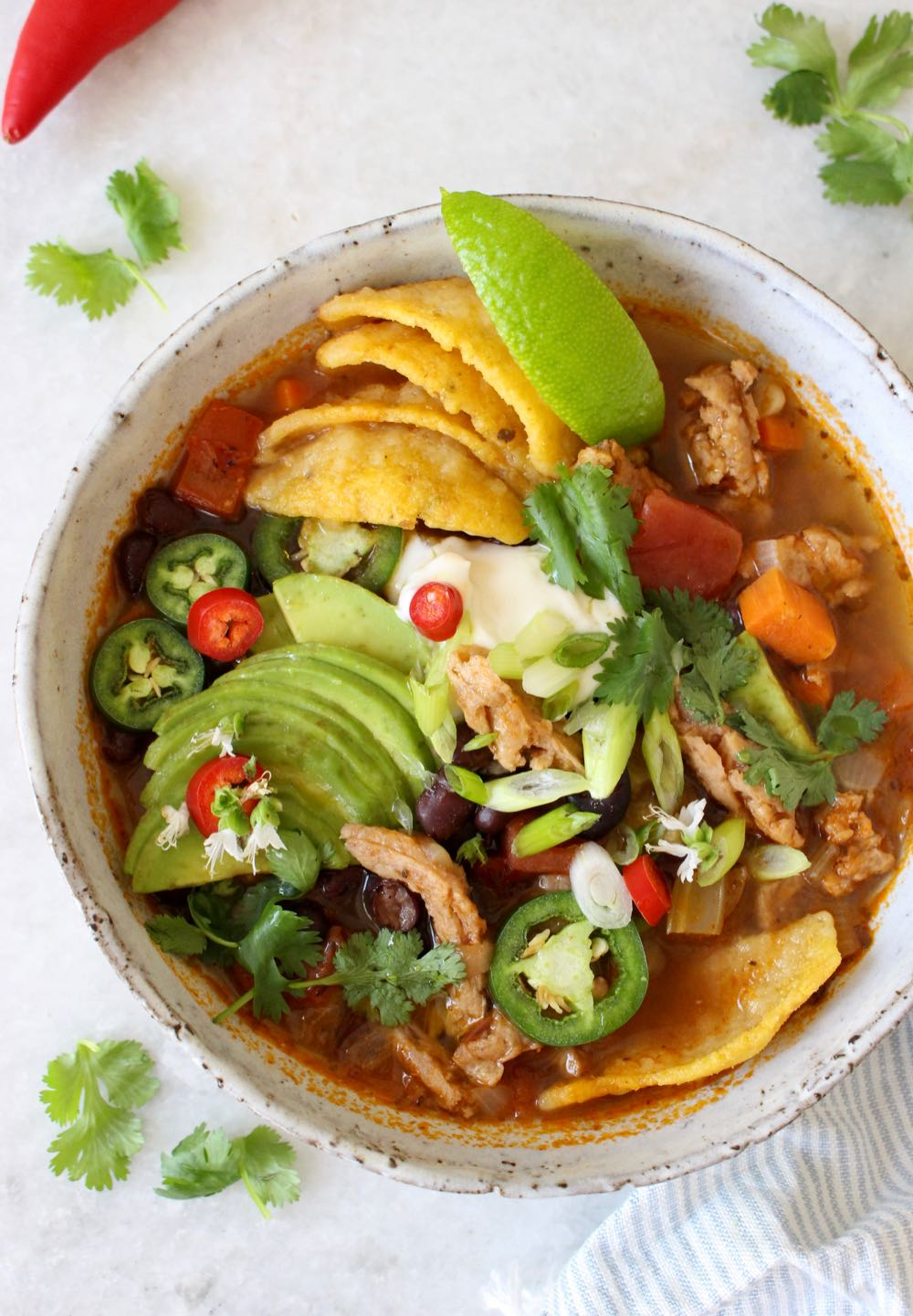 Vegan Tortilla Soup Recipe with Soy Curls