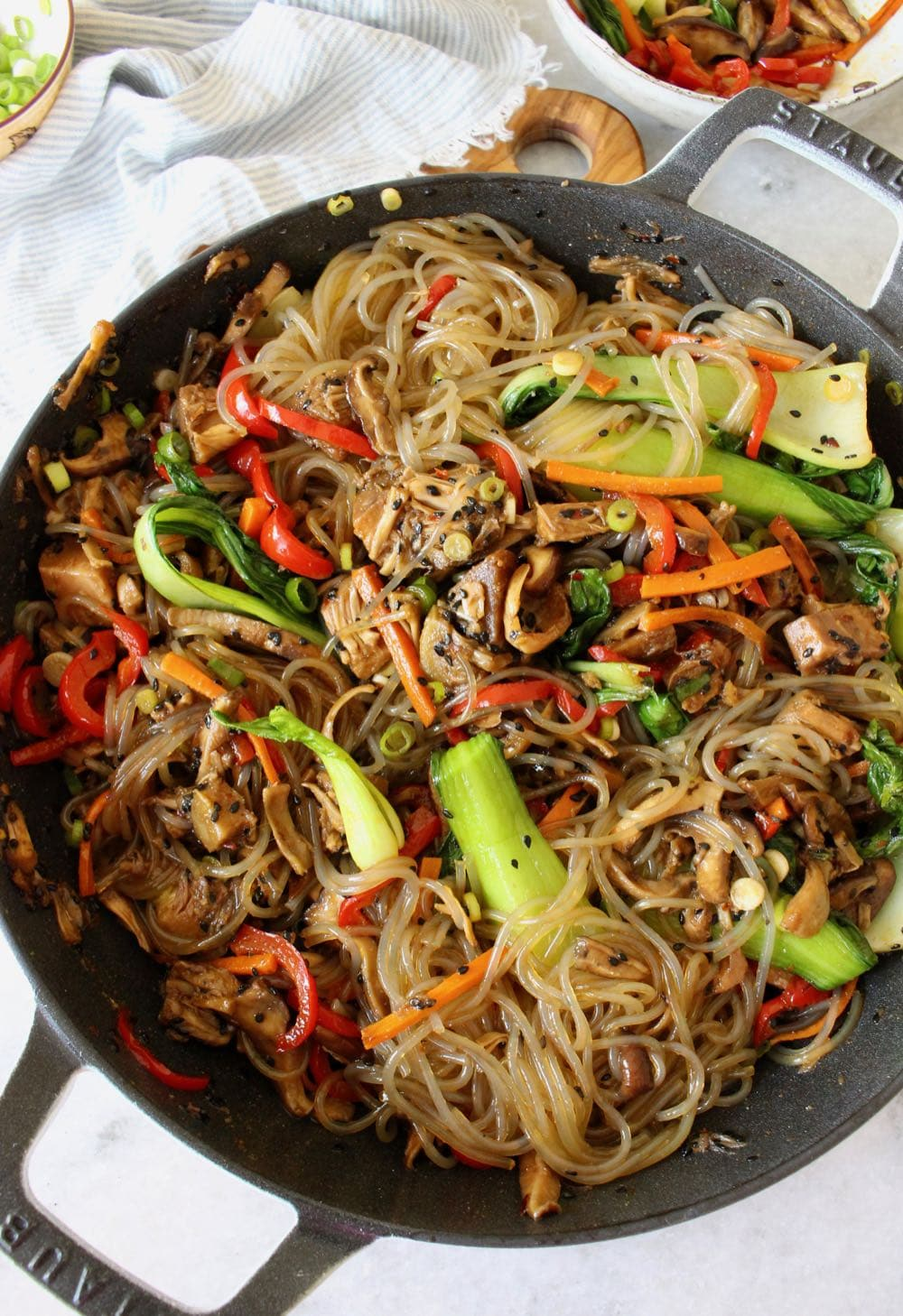 Korean Glass Noodles Stir Fry Recipe Veggie Society