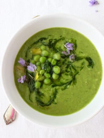 vegan green pea soup with leeks and chive oil