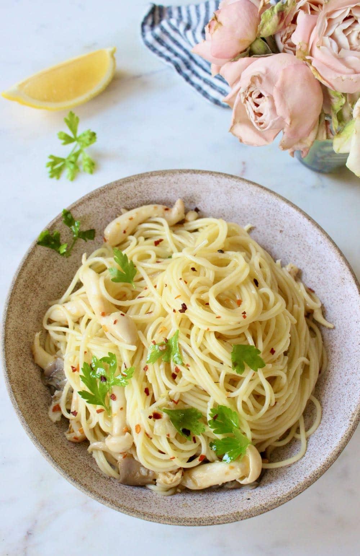 Aglio e Olio Recipe with Oyster Mushrooms