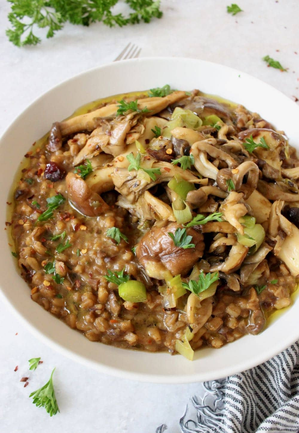 Vegan Farro Risotto with Leeks