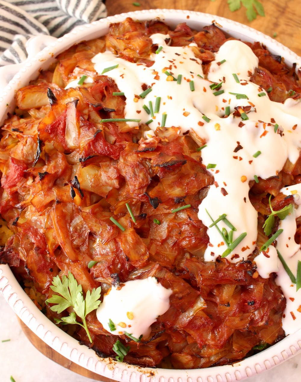 Cabbage Roll Casserole with Brown rice and Vegan Sour Cream