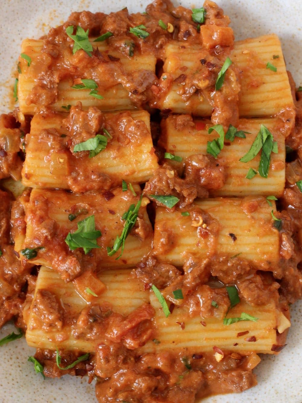 Vegan Rigatoni Bolognese
