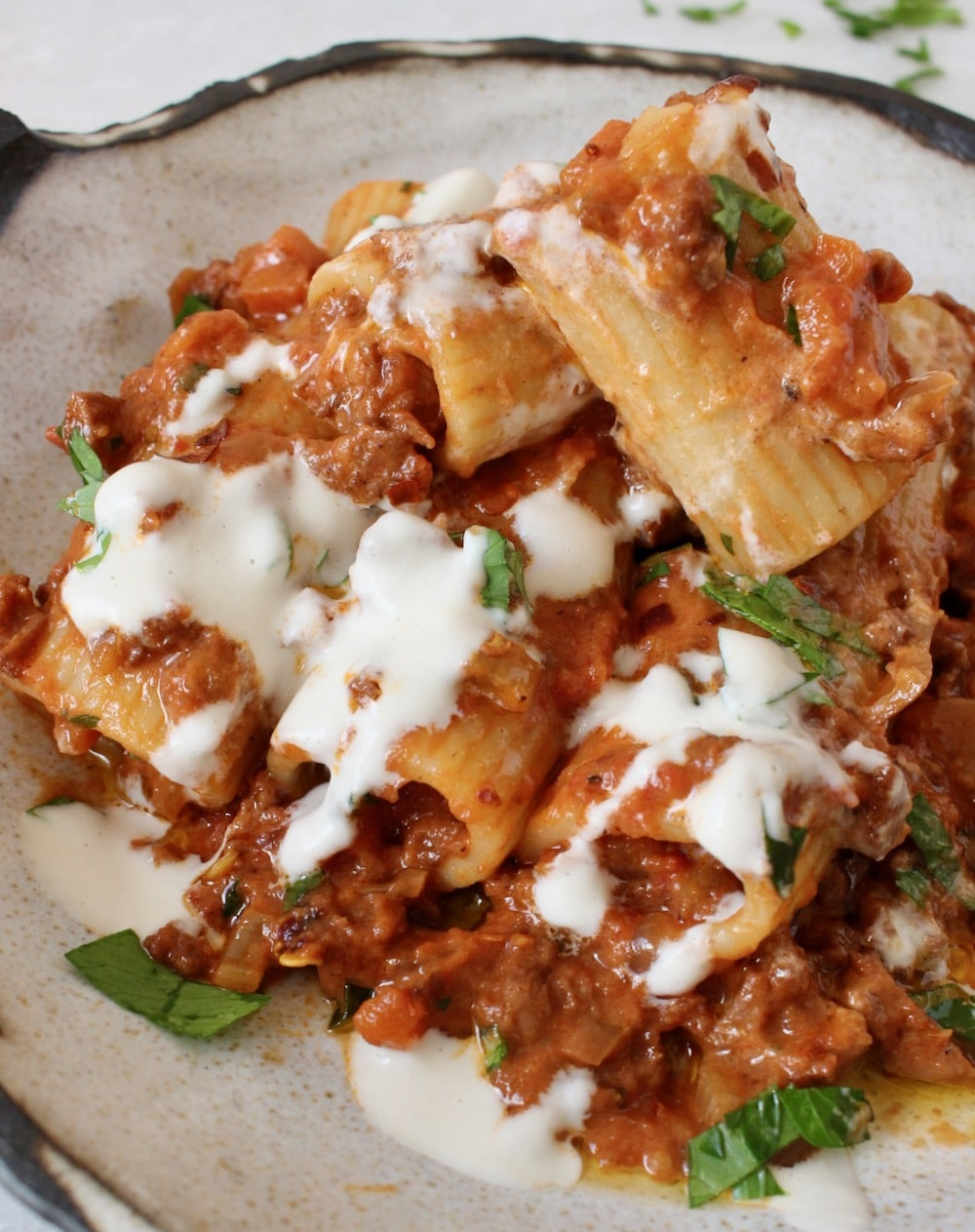 Vegan Bolognese with Cashew Cream and Soy Curls