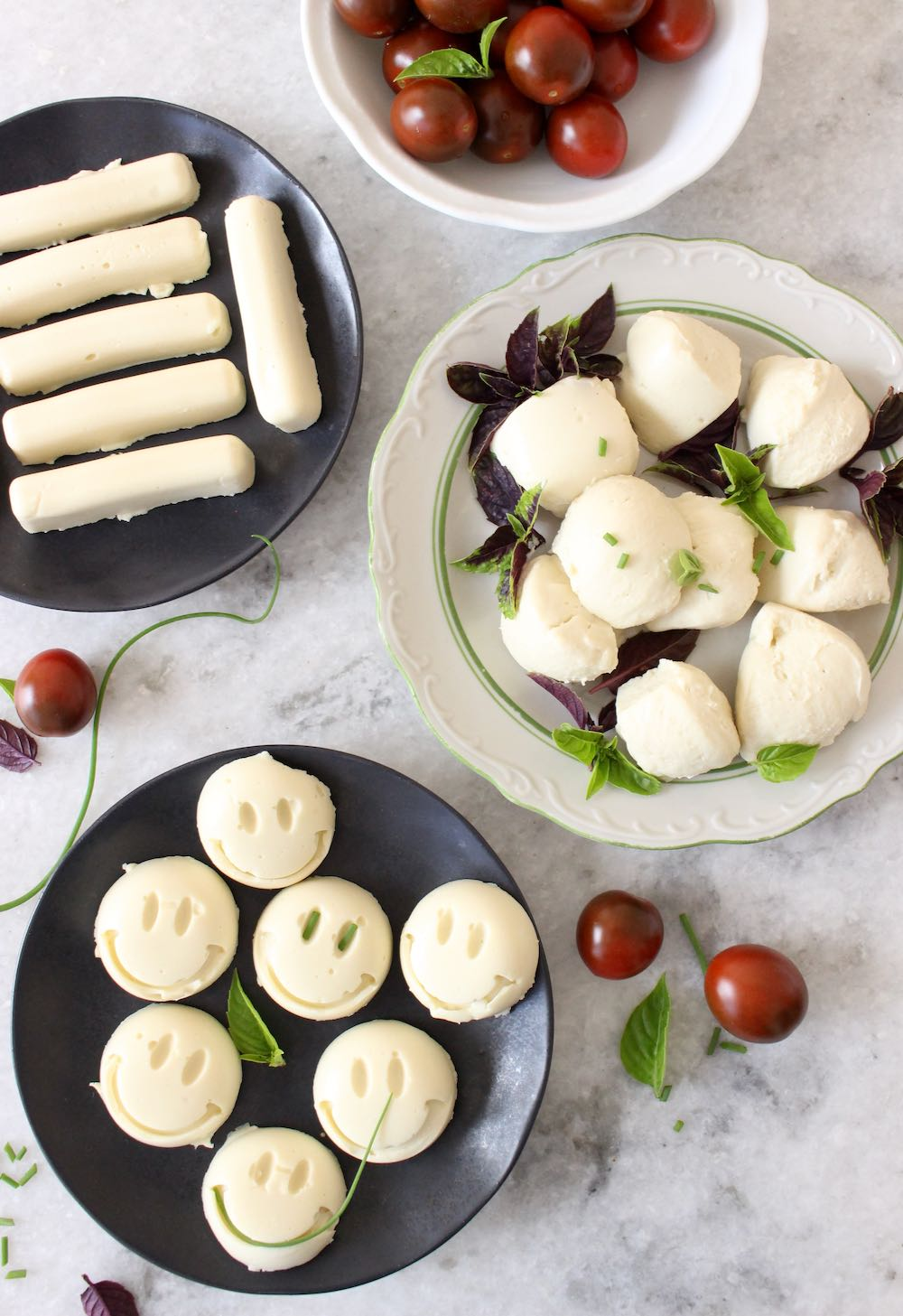 vegan mozzarella cheese sticks + balls