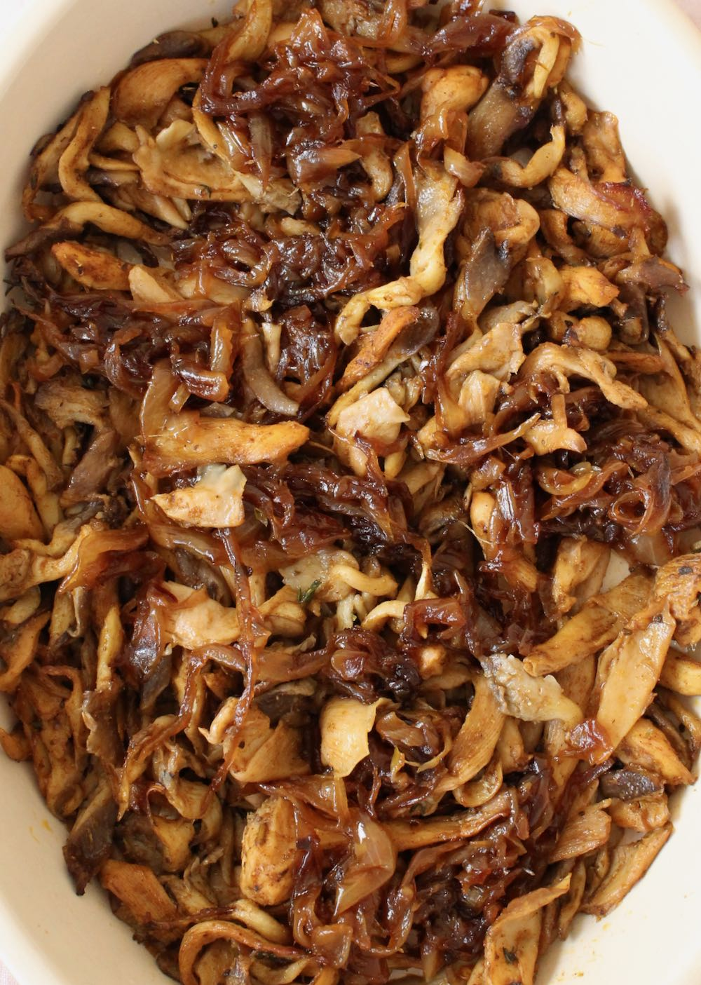 vegan gyros oyster mushrooms with caramelized onions