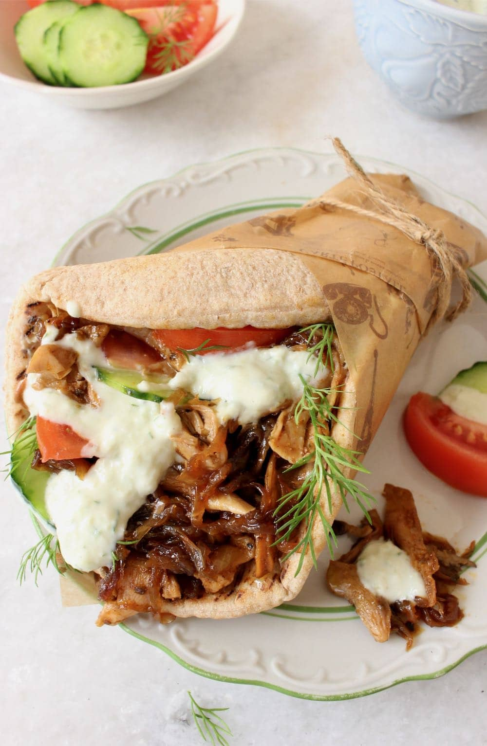 vegan gyros with caramelized onions + oyster mushrooms