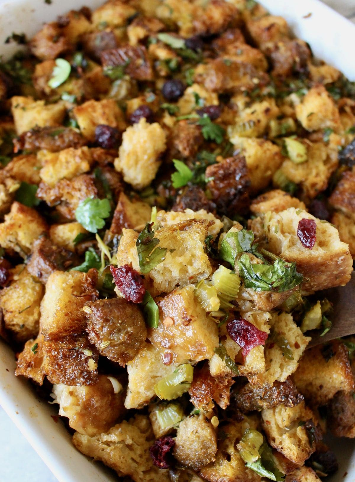 Vegan Stuffing with leeks, beyond sausage, sage, rosemary and cranberries