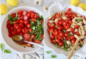 tomato bruschetta pasta salad in process shots